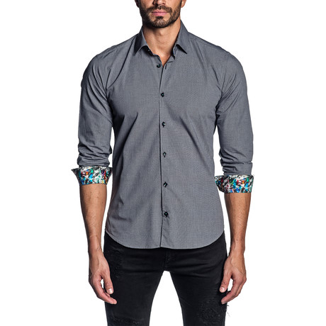 Gingham Long Sleeve Shirt // Black (S)