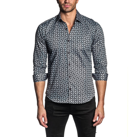 Geometric Print Long Sleeve Shirt // Multicolor (S)