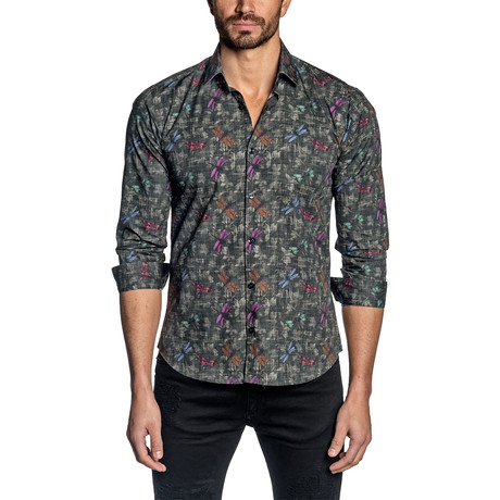 Print Long-Sleeve Shirt // Black + Multicolor (S)