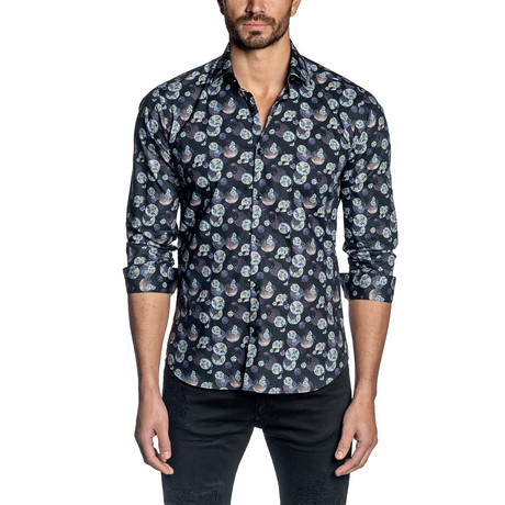 Moon Print Long-Sleeve Shirt // Navy (S)