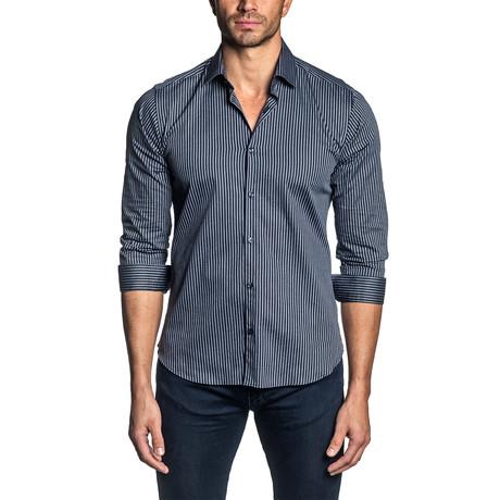 Striped Long Sleeve Shirt // Dark Navy (S)