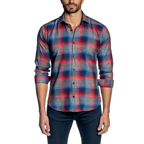Plaid Long-Sleeve Shirt // Gray + Red + Blue (S)