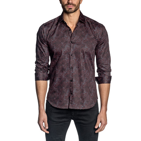 Dots Long Sleeve Shirt // Black + Red (S)