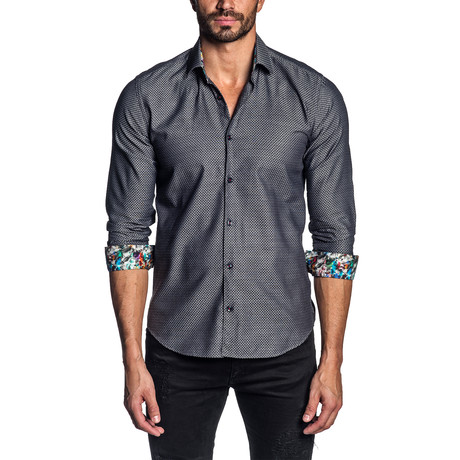 Jacquard Long-Sleeve Shirt // Charcoal (S)