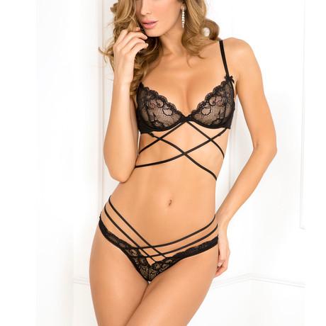 Soft Bondage Bra + Panty Set // Black (S/M)