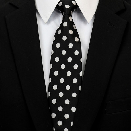 Silk Neck Tie + Gift Box // Black + White Polka Dot