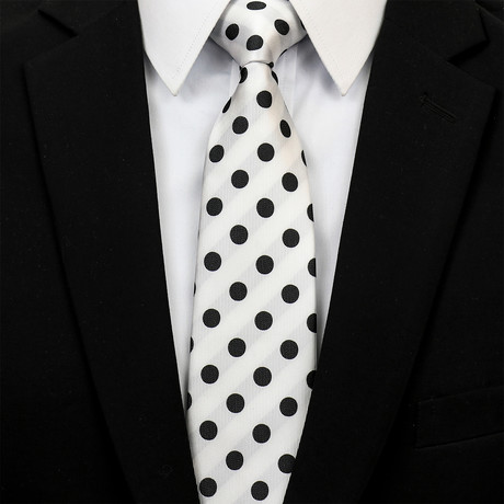 Silk Neck Tie + Gift Box // White + Black Polka Dot