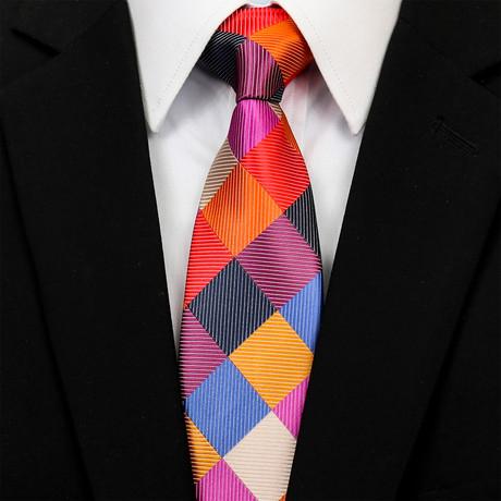 Silk Neck Tie + Gift Box // Checked Multicolor