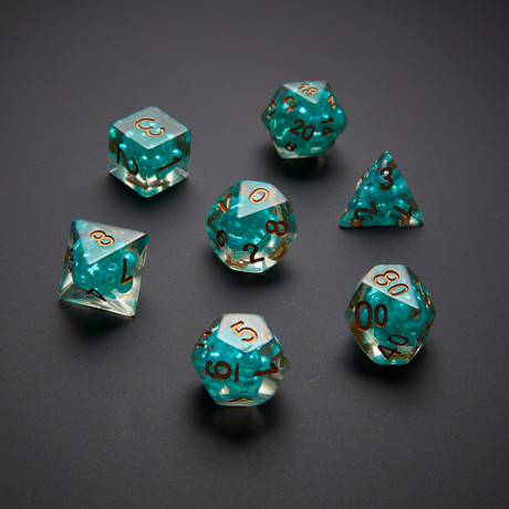 16mm Resin Pearl Dice Poly Set (Teal w/ Copper Numbers)