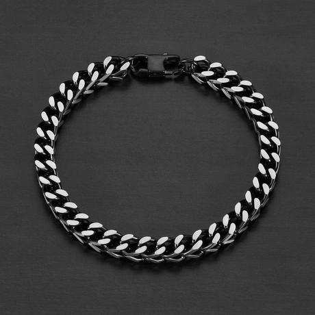 Matte Stainless Steel Franco Square Box Chain Bracelet // Black + Silver