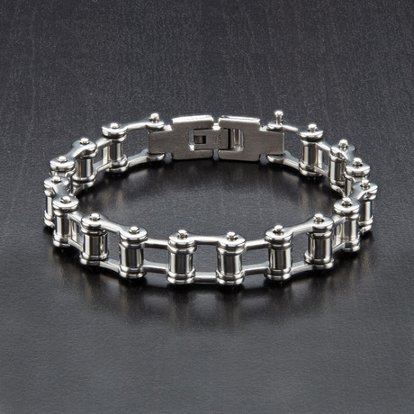 Stainless Steel Bicycle Chain Link Bracelet // White