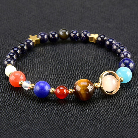 Solar System Natural Stone Beaded Bracelet // Multicolor