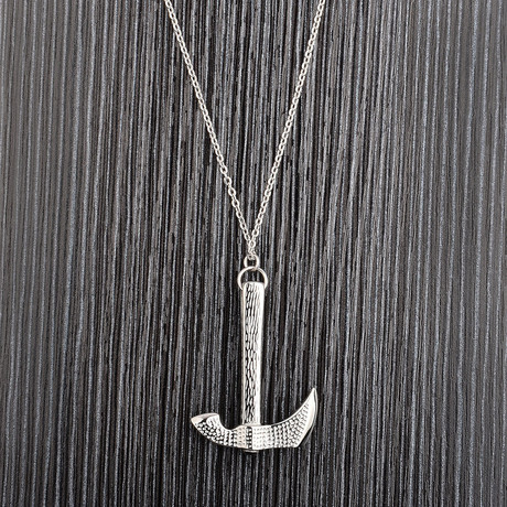 Polished Stainless Steel Axe Pendant + Chain Necklace // Gold