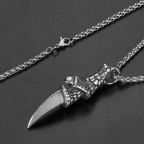 Stainless Steel Claw Pendant + Chain Necklace // Silver