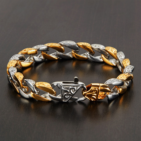 Two-Tone Stainless Steel Antiqued Curb Chain Link Bracelet // Silver + Gold