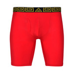 """Sheath V 8"""" Sports Performance Boxer Brief // Gold + Red (Small)"""