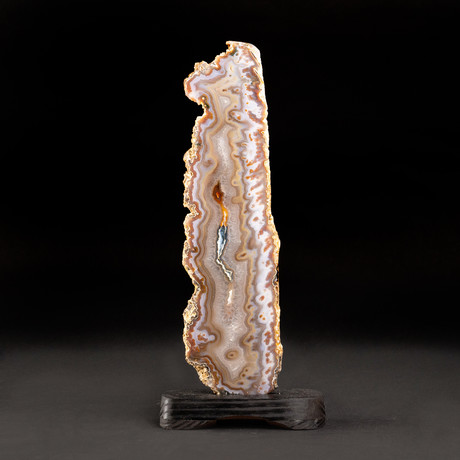 """Large Agate Plate on Wooden Stand // 14.5"""""""