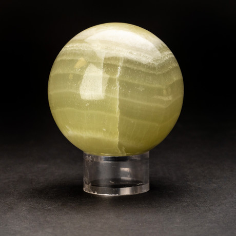 Green Banded Agate Sphere + Acrylic Display Ring