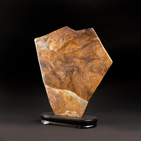 """Large Agate Plate on Wooden Stand // 16"""""""