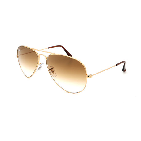 Unisex RB3025-1-51 Aviator Sunglasses // Gold + Brown (Size 58-14-135)