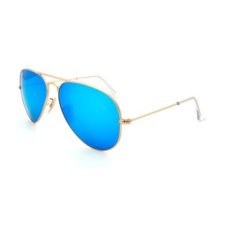Unisex RB3025-112-17 Aviator Sunglasses // Gold + Blue