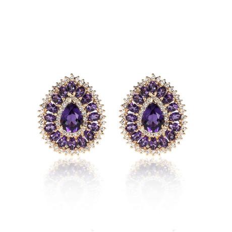 Crivelli 18k Two-Tone Gold Diamond + Amethyst Earrings