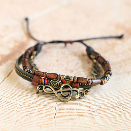 Leather Bracelet + Wood Beads // Brown (Brown)