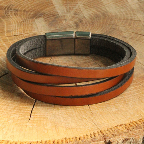 Four Strap Leather Bracelet // Brown (Brown)