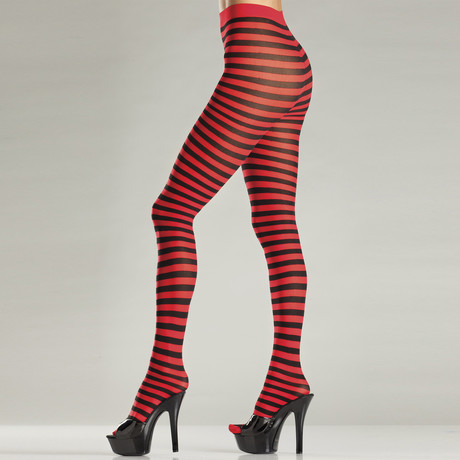 Seamingly Striped Pantyhose // Red + Black