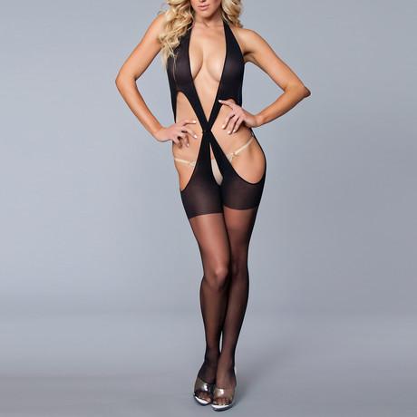Cross The Line Body Stocking // Black (One Size)