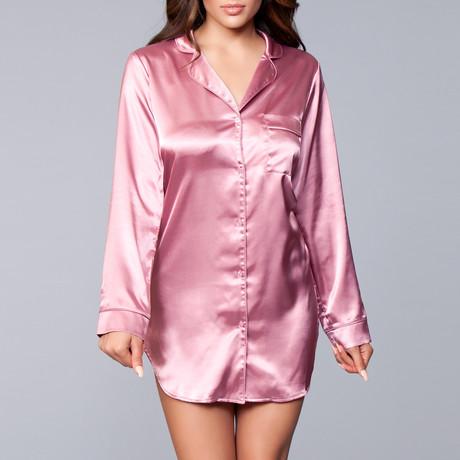 Kimberly Satin Sleepshirt // Dusty Rose (1X-Large/2X-Large)