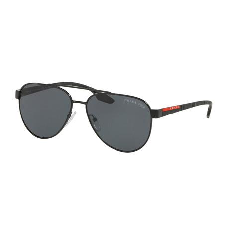 Unisex Aviator Sunglasses // Black + Gray