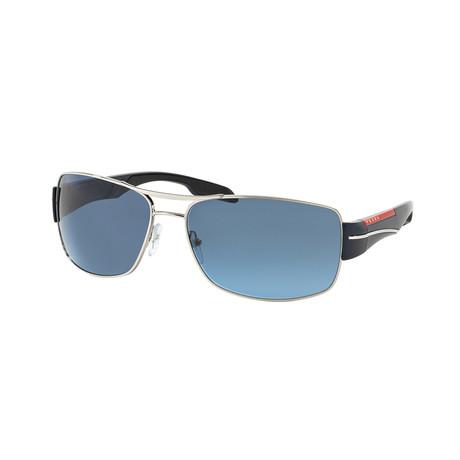 Unisex Sunglasses // Silver + Gray + Blue Gradient