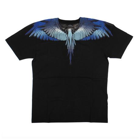 Men's Wings T-Shirt // Black + Blue (XXS)