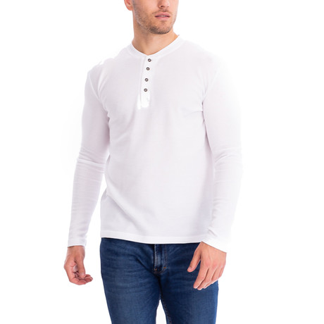 4 Button Thermal Henley Shirt // White (S)