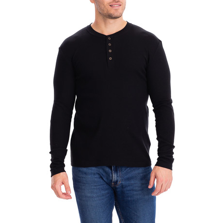 4 Button Thermal Henley Shirt // Black (S)