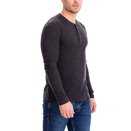 4 Button Thermal Henley Shirt // Charcoal (S)