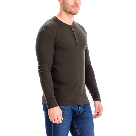 4 Button Thermal Henley Shirt // Olive (S)