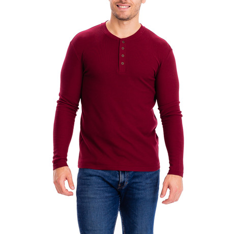 4 Button Thermal Henley Shirt // Red (S)
