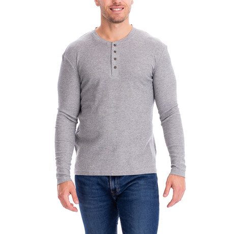 4 Button Thermal Henley Shirt // Gray (S)