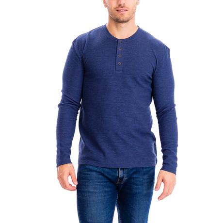 4 Button Thermal Henley Shirt // H.Denim (S)