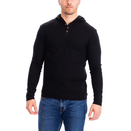 Thermal 3 Button Hoodie // Black (S)