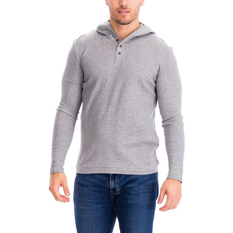 Thermal 3 Button Hoodie // Gray (S)