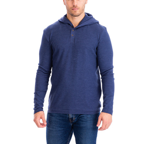 Thermal 3 Button Hoodie // H.Denim (S)