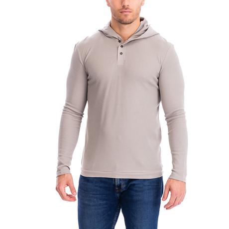 Thermal 3 Button Hoodie // Khaki (S)