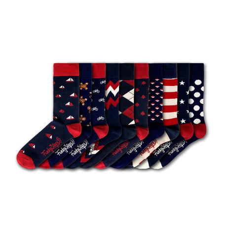 Men's Regular Socks Bundle // Red + Navy // 10 Pairs
