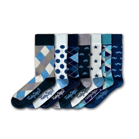 Men's Regular Socks Bundle // Blue + White + Gray // 7 Pairs