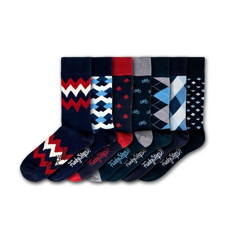 Men's Regular Socks Bundle // Navy + Red + Blue // 7 Pairs