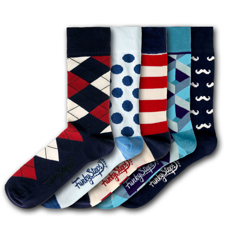 Men's Regular Socks Bundle // Navy + Blue + Red // 5 Pairs