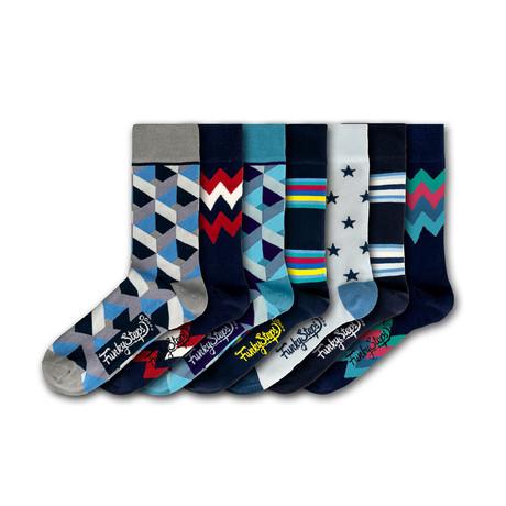 Men's Regular Socks Bundle // Navy + Gray + Blue // 7 Pairs